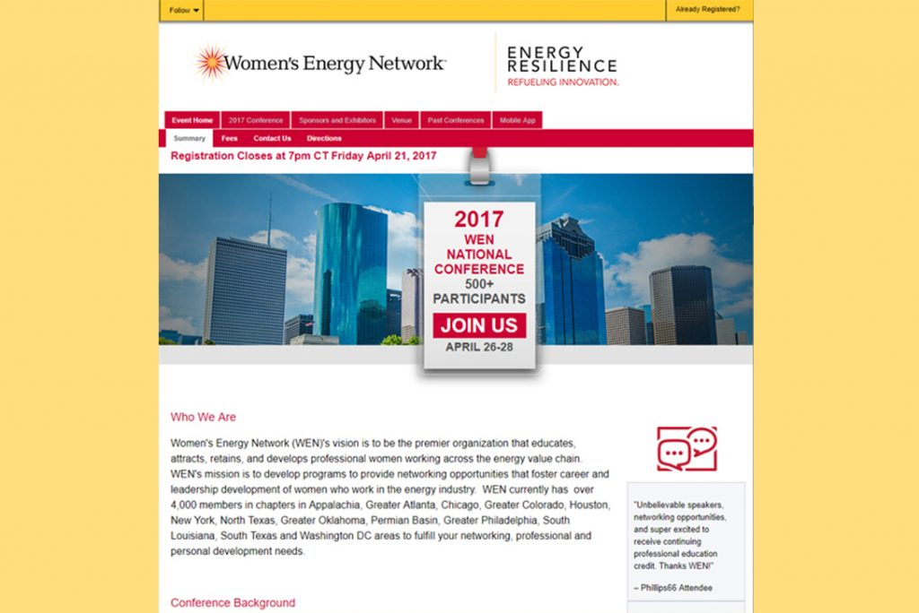 Womens Energy Network WEN - Landing Page Design and Setup